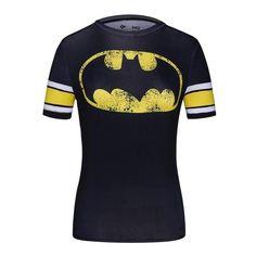 Ladies DC Comics Marvel Superman Batman/ Wonder Women's Fitness T Shirt Girls Bodybuilding Compression Tights Tees Tops Superhero Superman, Superman T Shirt, Spiderman, Casual T Shirts, Tee Shirts, Compression T Shirt, Marvel Women, Sport T Shirt, Aliexpress