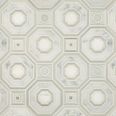 Decorative Materials » Seville Bianco Carrara Marble and Glass Water Jet Mosaic