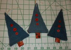 3 Blue Denim Fabric Tree Ornaments Red Button Embellished Upcycled Recycled Handcrafted by TheRoyaleRagbag on Etsy