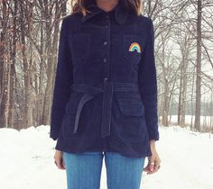Vintage 60s 70s RAINBOW Patched Navy Blue by GimmeShelterVintage