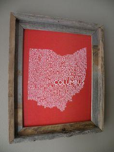 Columbus Ohio Word Map. $22.00, via Etsy.