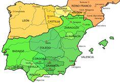 Spain (or Iberian Peninsula), 1037 Spain History, European History, Map Of Spain, Spain And Portugal, San Salvador, Pamplona, Kingdom Of Navarre, Narbonne France, Iberian Peninsula