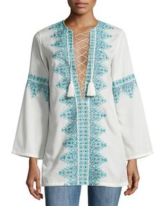 W09YF Talitha Embroidered Lace-Front Cotton Tunic, White/Blue