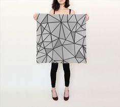 Grey Geometric Square Scarf