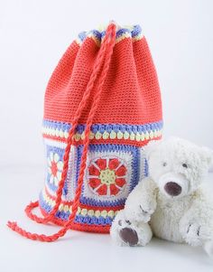 Colorful crochet backpack for kids or teenagers for por myo13