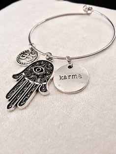 A personal favorite from my Etsy shop https://www.etsy.com/fr/listing/266986786/zen-bangle-bracelet-fatima-hand-ohm