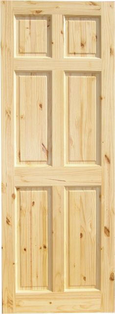 Knotty Pine 6-Panel Wood Interior Door. These match our new molding.