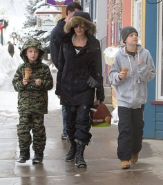 Actress Angelina Jolie is spotted out getting ice cream with her kids Shiloh and Knox in Crested Butte, Colorado on January 2, 2016.  Angelina is enjoying a winter vacation with her kids minus her estranged husband Brad Pitt with whom she split with late last year.