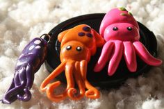 Polymer Clay Squid Charm on Etsy, $5.00