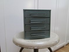 Blue Metal 4 Drawer Cotton Thread Store Display by AntiquesPlus, $45.00