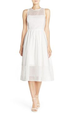 Eliza J Embroidered Cotton Fit & Flare Dress