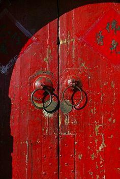 Red gate,  Luohou buddhist Monastery, town of Taihuai, Shanxi , China