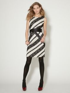 Winnie Lace Stripe Obi Sash Dress