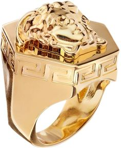See this and similar Versace men's rings - Versace's iconic Medusa head symbol sits proudly atop this chunky gold-tone ring. Wear it as a statement piece from d. Versace Jewelry, Luxury Jewelry, Mens Gold Rings, Rings For Men, Fashion Accessories, Fashion Jewelry, Men's Jewelry, Pandora Jewelry, Jewellery