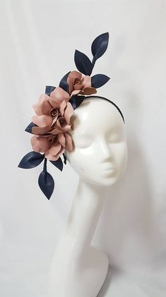 Dusty Pink leather flowers with navy leather leaves Leather Flowers, Pink Leather, Navy Fascinator, Race Wear, Fashion Accessories, Hair Accessories, Flower Crown, Hat Flower, Flower Headpiece