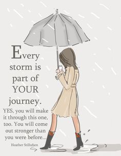 Rainy Day. Rainy Day Art. Storm quotes. Encouragement Card  Every Storm  Art for by RoseHillDesignStudio