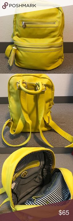 NILA ANTHONY TASSLE BACKPACK New with out tags. Beautiful yellow backpack. Leather vinyl material, super strong. Inside pockets and zipper, outside pockets with zipper and side pocket for bottle. Last picture shows a small stain, not noticeable.                                                       Condition: New without tags. Smoke free home No trades, No returns No modeling  Shipping next day I LOVE OFFERS, offer me! All transactions video recorded to ensure quality.  Ask all questions…