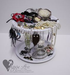 Pottery Barn Inspired Tiered Jewelry Holder using Dollar Store Items