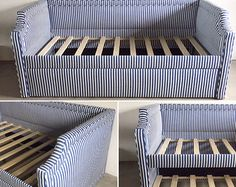 Custom Upholstered Daybed w/Notched Arms, Inset Piping, Rolling Trundle- COMShop for custom upholstered daybed trundle on Etsy, the place to express your creativity through the buying and selling of handmade and vintage goods. Daybed trundle from livenUP Diy Daybed, Upholstered Daybed, Daybed With Trundle, Sofa Bed, Murphy Bed Plans, Big Girl Rooms, Bed Design, Head Boards, Diy Furniture
