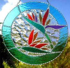"Stained Glass Bird of Paridise Tropical Design Suncatcher - 9"" x 9"" - $37.95"