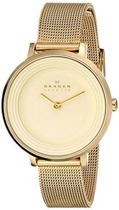 $114.99 Skagen Women's SKW2212 Ditte Quartz 2 Hand Stainless Steel Gold Watch Skagen