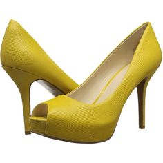 Nine West Qtpie (Yellow Reptile) Women's Shoes ($50) ❤ liked on Polyvore featuring shoes, yellow, peep toe platform shoes, yellow shoes, platform shoes, synthetic shoes and peep toe shoes