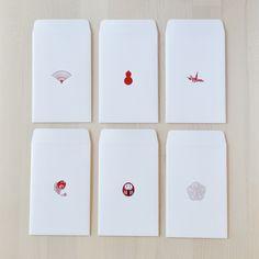 売切次第終了!縁起の良いお年玉ぽち袋 6種のデザインぽち袋 赤箔  再販