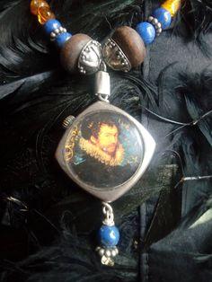 miniature portrait necklace, tudor, Elizabethan style jewelry, unique, amber beads, lapis lazuli necklace, assemblage neckpiece, narrative