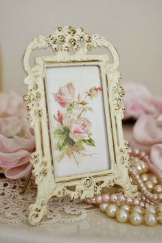 My frame with photo of brooke at entrance...tuck inside vintage suitcase with keys/tags...Key to a happy marriage...pearls in suitcase too and line with old lace~