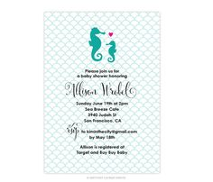 Coastal Seaside Party - New Baby Mommy to Be Coastal Beach Ocean Sea - Baby Invitations - Seahorse Mom and Seahorse Baby by brittanylaurendesign on Etsy https://www.etsy.com/listing/221419792/coastal-seaside-party-new-baby-mommy-to