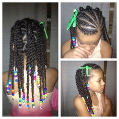 . LITTLE GIRL HAIRSTYLES / BRAIDS / PROTECTIVE HAIRSTYLE / HAIRSTYLES / KIDS / BOW / CORNROLLS / HAIRDO / UPDO / GIRL / TWIST HAIRSTYLE / NATURAL HAIRSTYLE / BEADS