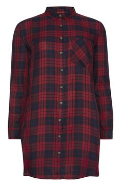 Red Check Longline Viscose Check Shirt