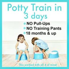 Previous pinned said: This is how we potty trained in 3 days - We were able to potty train in 3 days (all 4 kids) using the Potty Train in a Weekend Method. ( your modern family's potty train book ) It worked just like she said it would.