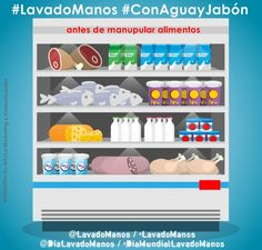 #LavadoManos #ConAguayJabón antes manipular alimentos