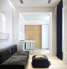 65 m2 one bedroom compact apartment by Ukrainian architect