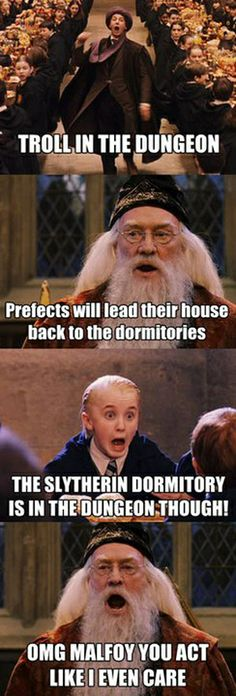 I love dumbledoors face at the end!!! Lol