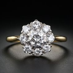 Antique Style Diamond Cluster Ring - 10-1-4444 - Lang Antiques