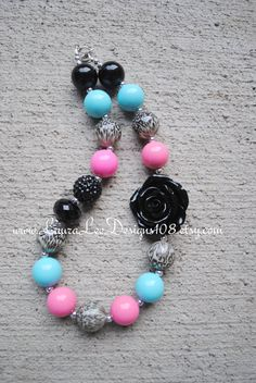 Pink Aqua and Black with Cheetah Leopard by LauraLeeDesigns108