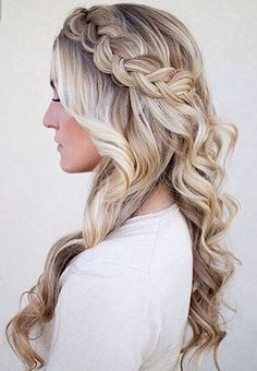 braided crown and curly hair