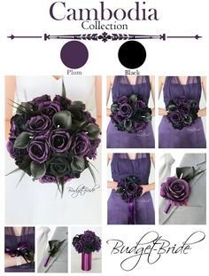 Plum Davids Bridal Wedding Bouquet in black and plum with black feathers perfect for a gothic theme wedding Purple Black Wedding, Plum Wedding, Geek Wedding, Red Wedding Dresses, Wedding Flowers, Dream Wedding, Wedding Ideas, Bridesmaid Dresses, Wedding Things
