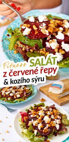 Super chutný zdravý fitness zdravý salát z červené řepy a kozího sýru s vlašskými ořechy, balzamikovým octem, olivovým olejem a medem