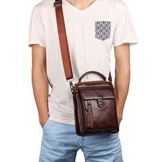 b6cefc01cb Genuine Leather Vintage Business Single-shoulder Bag Crossbody Bag For Men.  Sacs À Bandoulière ...