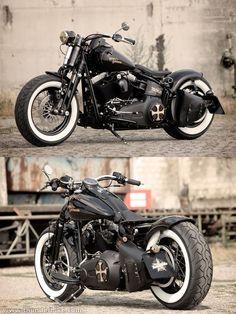 Customized Harley-Davidson Softail Cross bones Bobber by Thunderbike Customs #harleydavidsonsoftailcrossbones #harleydavidsonfatboy