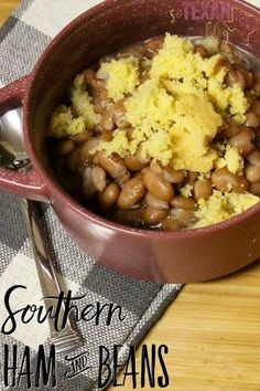 Instant Pot Ham and Beans recipe-- super fast and easy weeknight dinner!