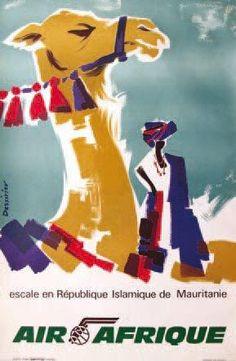 Air Afrique Vintage Travel Posters, Vintage Airline, Retro Ads, Africa Travel, Magazine Design, Illustrators, Graphic Art, Artist, Holiday Posters