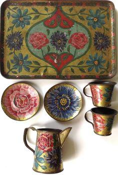 """Antique 1906 Leo Schlesinger tin-litho child's toy tea set """"Flowers on Gold"""" #LeoSchlesinger"""