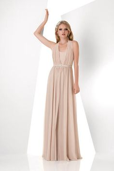 The fabric in this style is Bella Chiffon  Halter chiffon removable top dress; simplified long dress