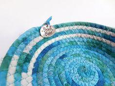 Fabric Coiled Rope Basket Nautical Basket Handmade Basket