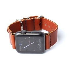 Apple Watch Band Strap | Chestnut Brown - Polished Buckle/Loops | Full Grain Vegetable Tanned Leather