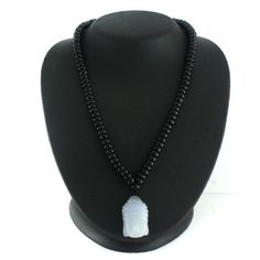 Rosaline Blue Chalcedony Onyx Platinum Buddha Necklace Z562 + BLACK DIAMOND #Rosaline #Fashion